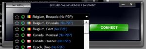 VPN4ALL client connection list showing no live P2P options