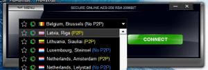 VPN4ALL client connection list showing live P2P options