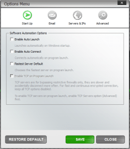VPN4ALL options/startup