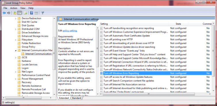 windows error reporting