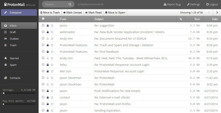 ProtonMail interface