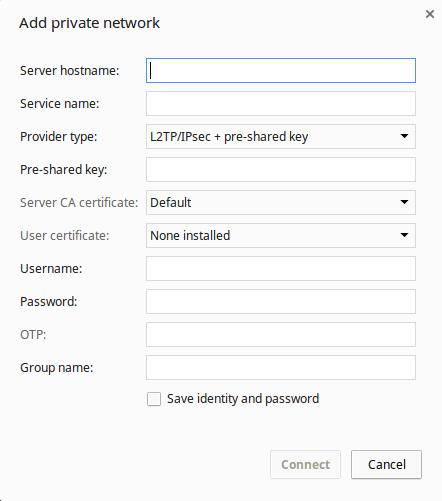 Setup Chromebook VPN - L2TP