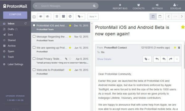 ProtonMail wen interface