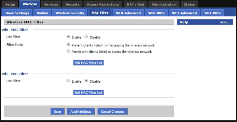 DD-WRT MAC Filter