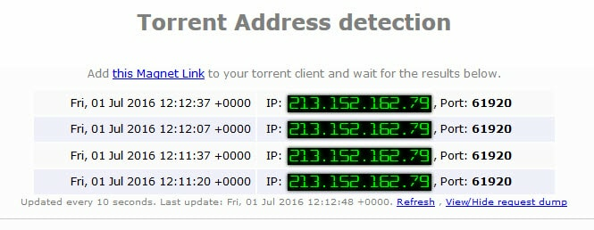 torrent address detection