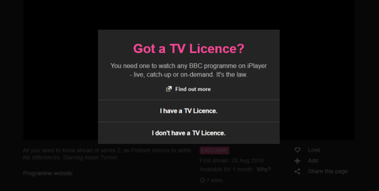 BBC iPlayer Licence Check is most British Thing Ever