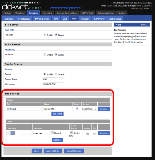 Using your DD-WRT router for NAS storage