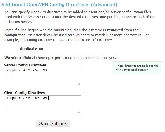 Advanced VPN settings