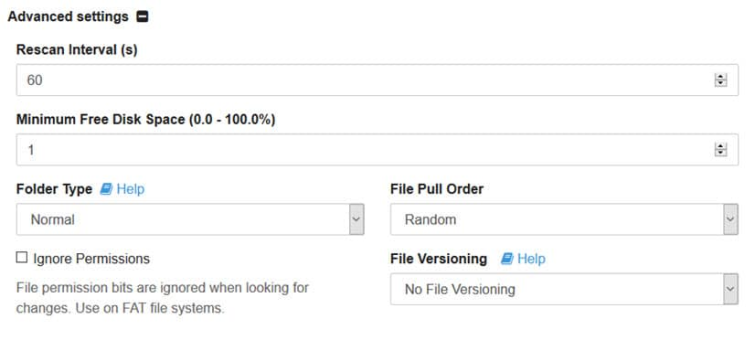 Sycthing advanced folder settings