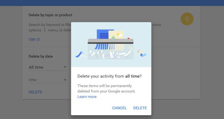 Delete Google history