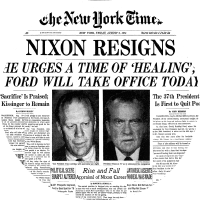 Nixon Resigns due to Watergate