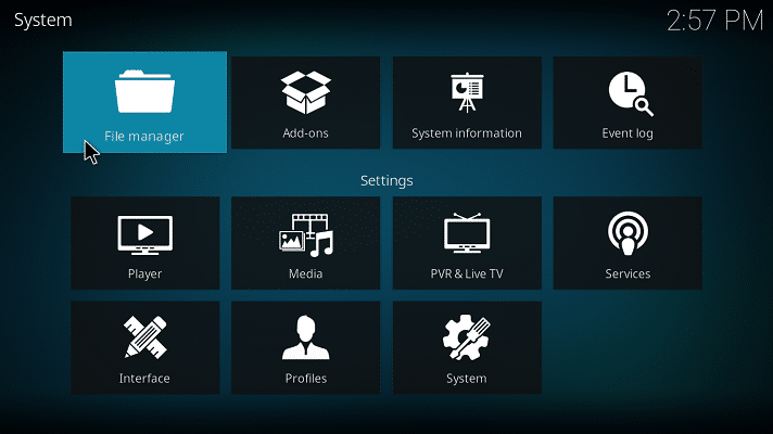 Kodi File Manager access