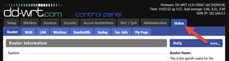DD-WRT control panel