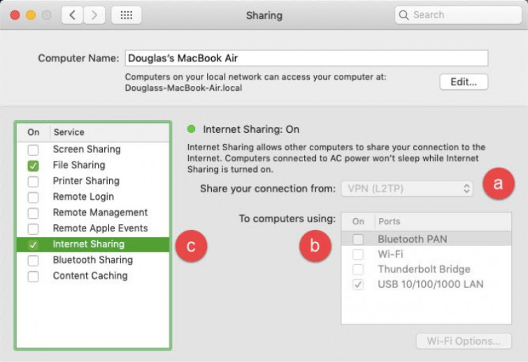 Macbook air internet sharing