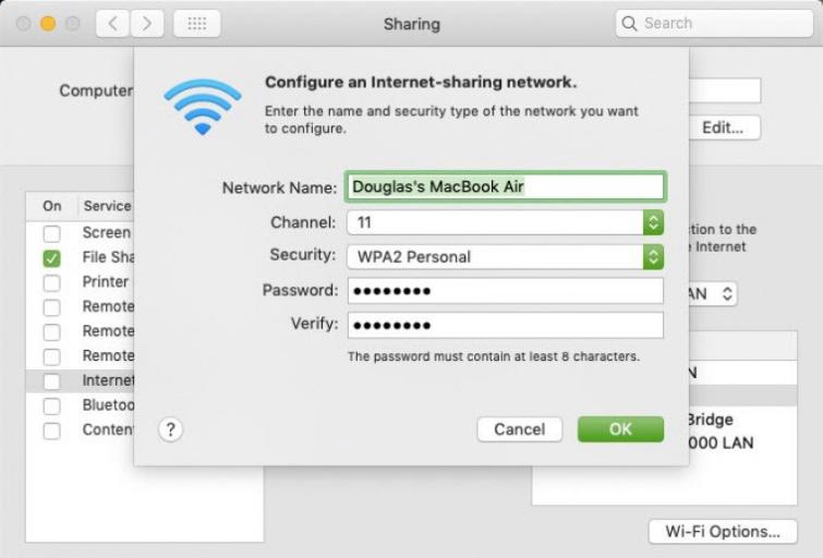 configure an internet sharing network