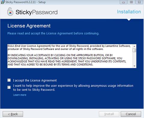 sticky password license agreement