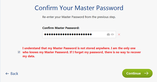 confirm a master password