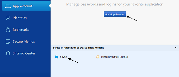add app account to sticky password