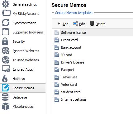 secure memo sticky password