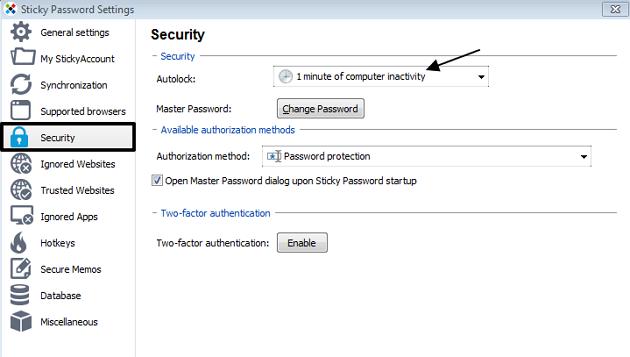 sticky password security tab