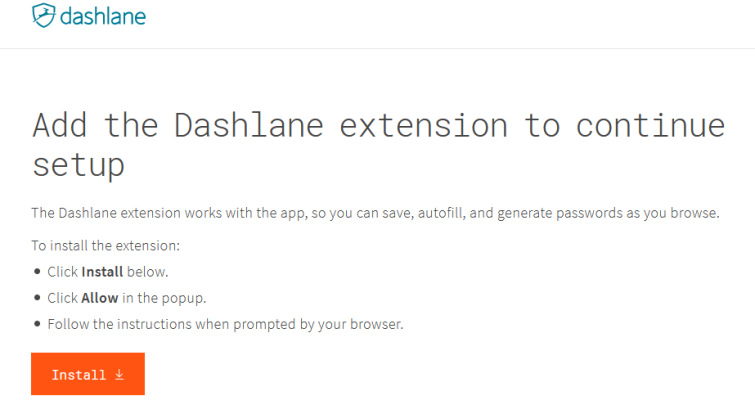 Add Dashlane extension