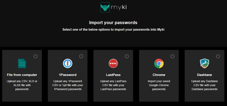 import passwords to Myki