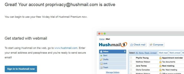 Hushmail webmail trial