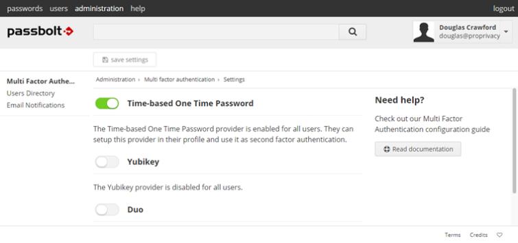 Passbolt two factor authentication settings