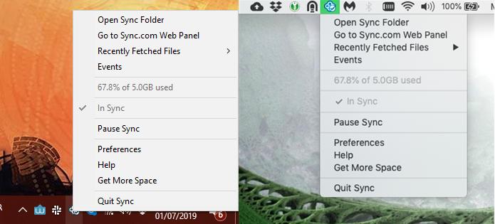 Sync.com for windows and Mac