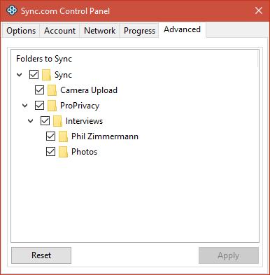 sync.com control panel advances settings