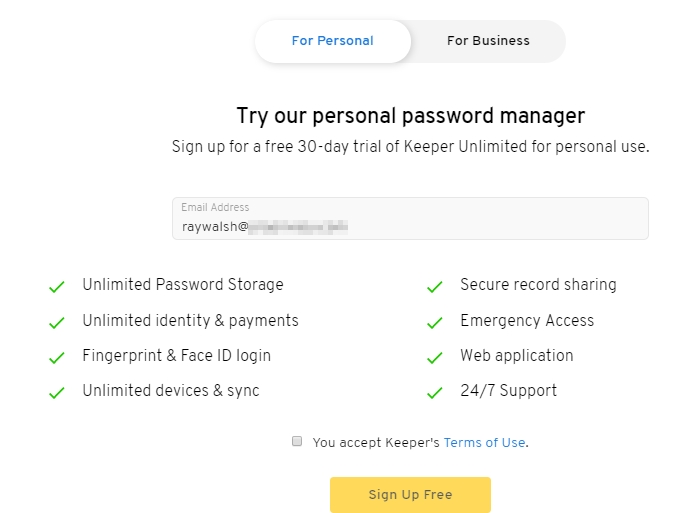 Personal password manager features