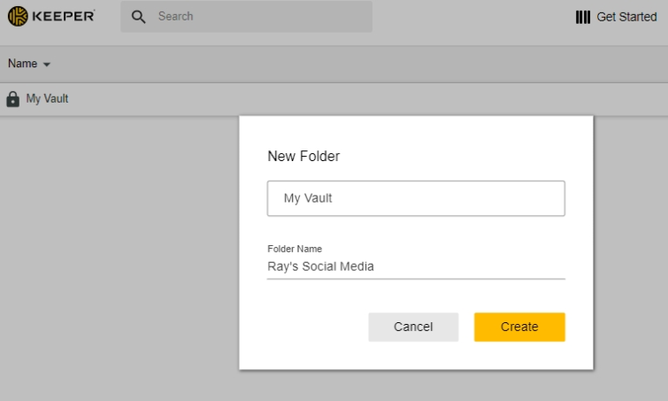creating a new password folder on keeper