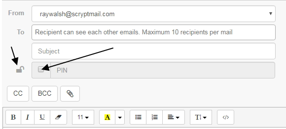 pin encryption method in scryptmail