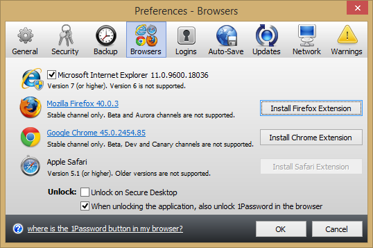 browser preferences