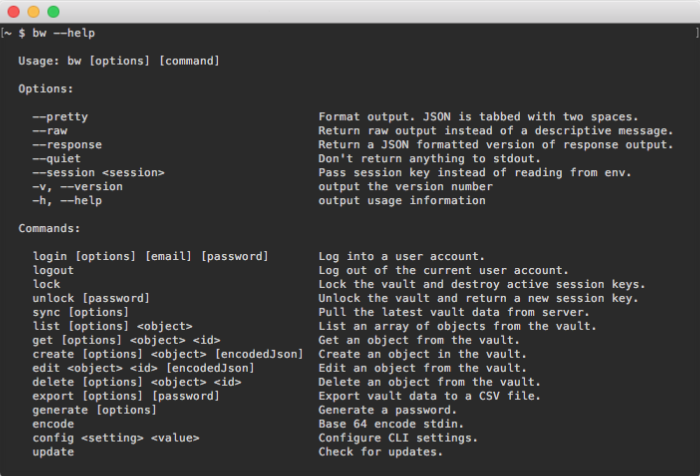 BitWarden Command Line Client