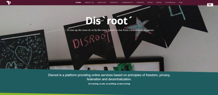 Disroot.org homepage