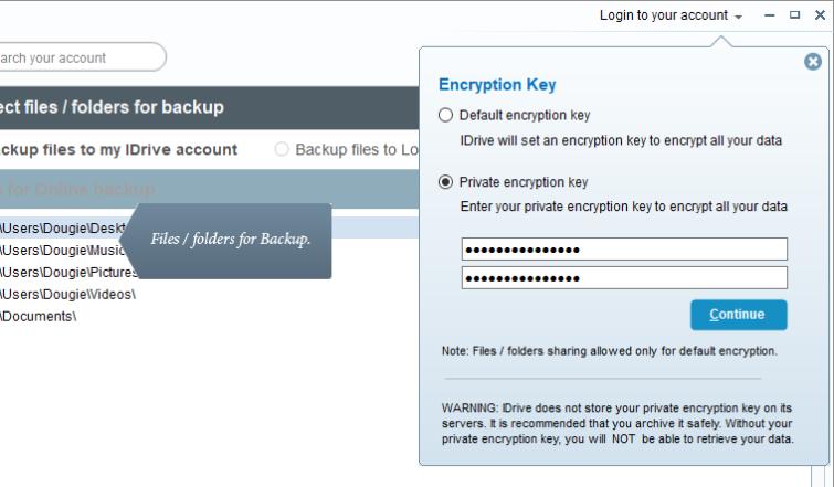 iDrive encryption Key