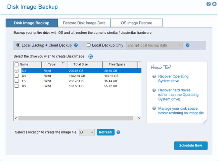 iDrive disk image backup