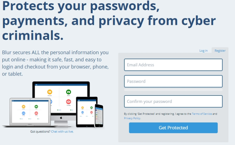 Blur Password manager sign up form