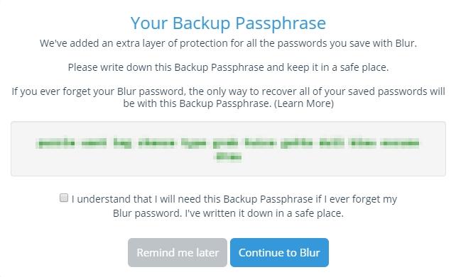 Blur password manager backup passphrases