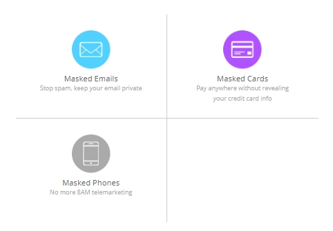 Blur Password manager email's, cards, masked phones