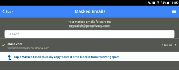 masked email screen