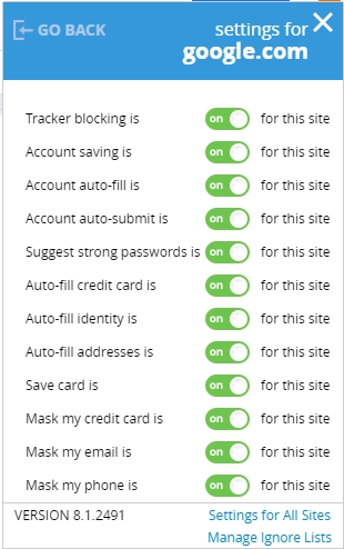 password settings for browser