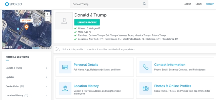 Information about Donald J Trump from by DeleteMe