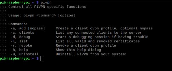 open terminal and enter PIVPN