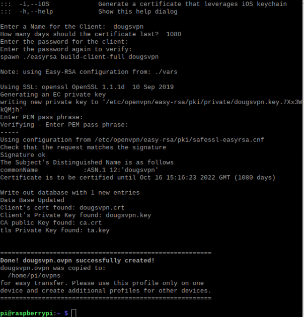 creating an .ovpn certificate