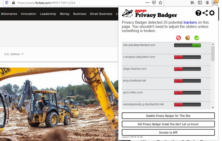 Privacy Badger chrome extension