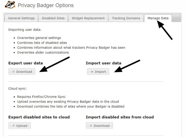 export user data from privacy badger