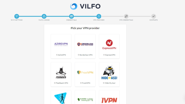 pick Vilfo VPN provider