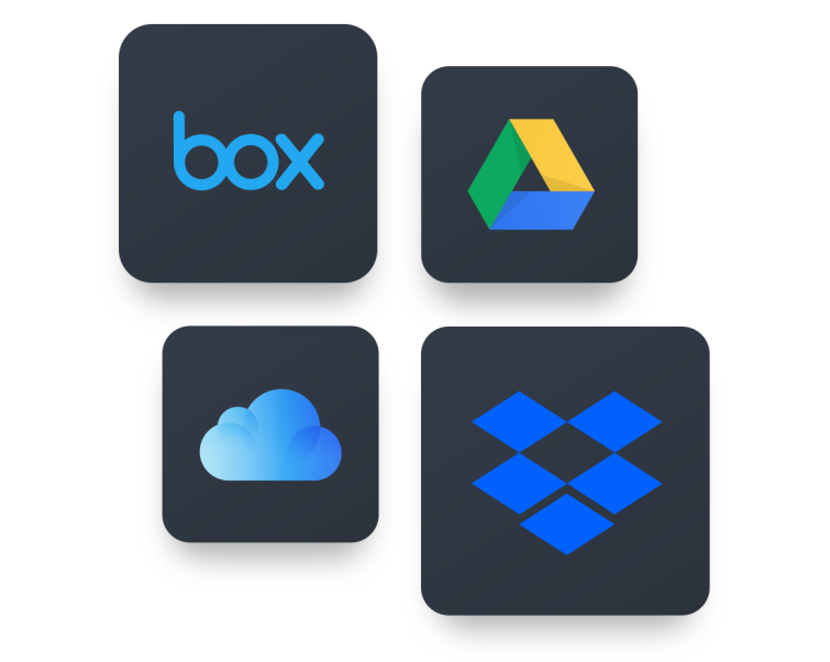 dropbox, onedrive, box, and google drive logos